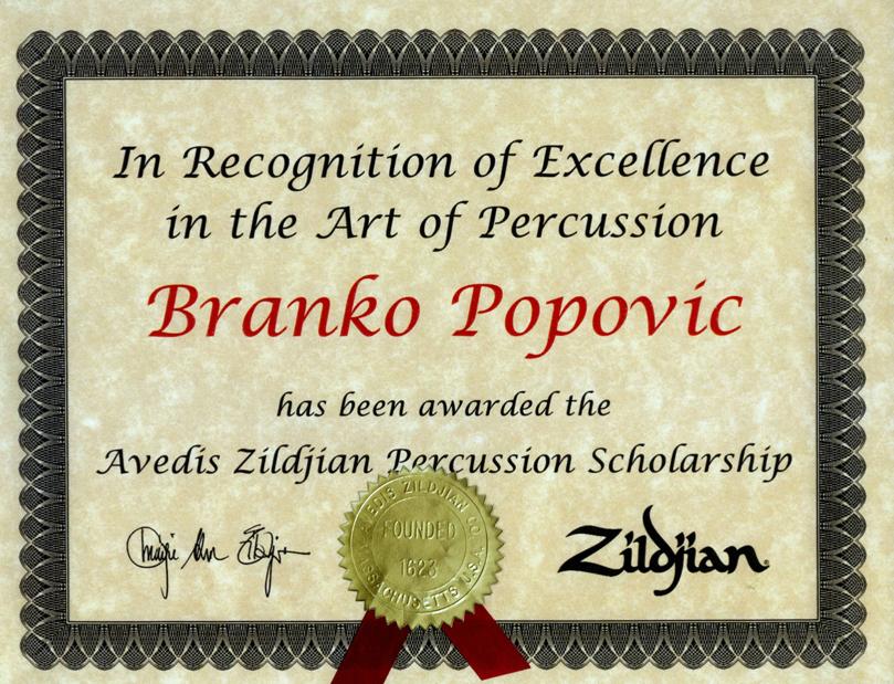 Zildjian diploma