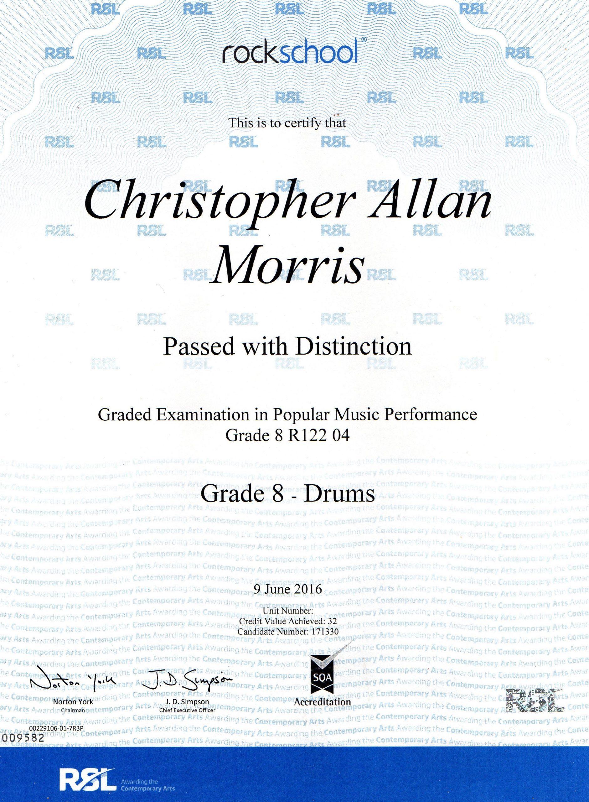Grade 8 Certificate